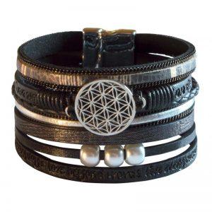 Armband Kunstleder Magnet Blume des Lebens schwarz