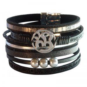 Armband Kunstleder Magnet Om schwarz