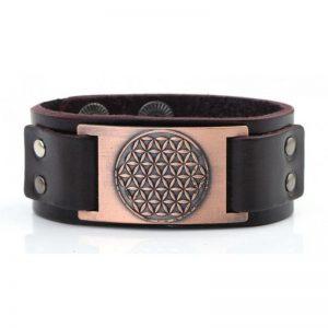 Herren Armband aus Leder mit der Blume des Lebens