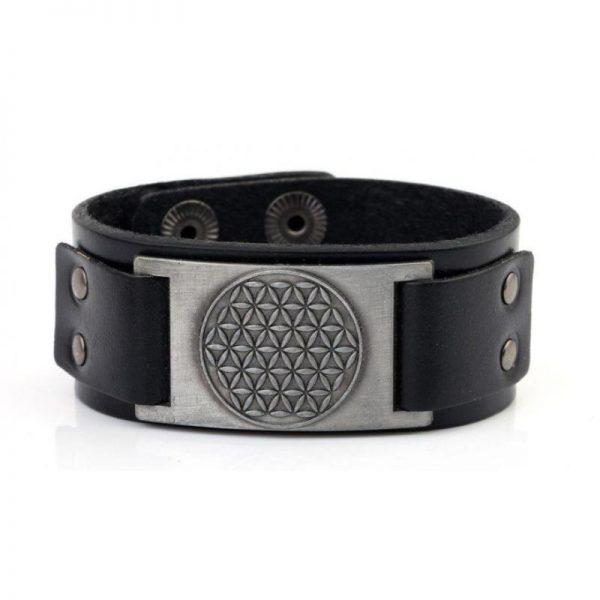 Herren Armband aus schwarzem Leder mit der Blume des Lebens silberfarben