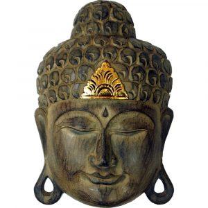 Buddha Maske aus Holz mit Goldverzierung