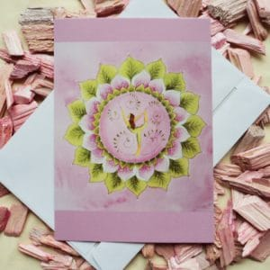 Mandala Yoga Karte rosa von Dalaya