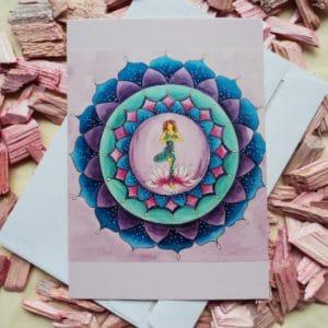 Mandala Yoga Karte blau von Dalaya