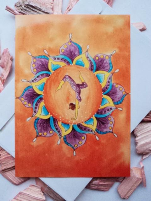 Mandala Yoga Karte orange von Dalaya