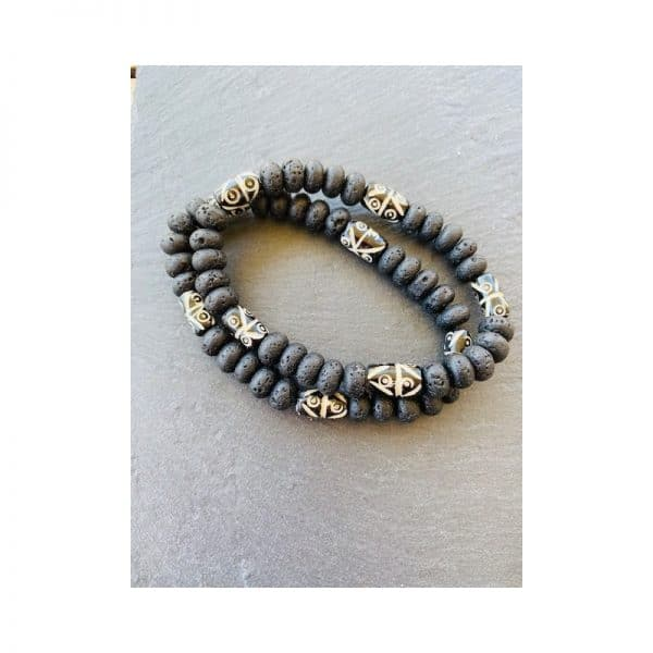 Armband Lava und Camel Bone