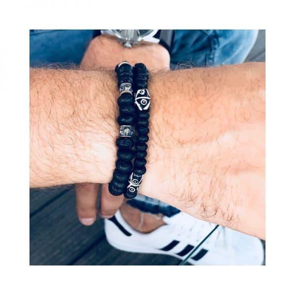 Herren Armband Lava und Kamelknochen