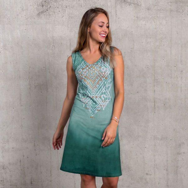 Kleid Bakti in smaragd mit Ethno Print