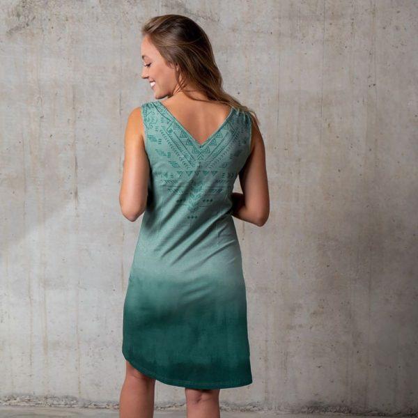 Kleid Bakti in smaragd Rueckenansicht