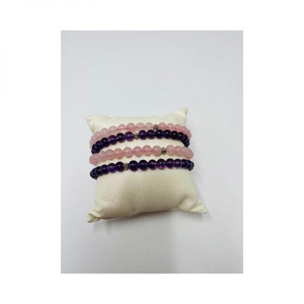 Lokkum Armband Heilstein rosenquarz und amethyst
