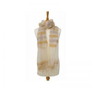 Lokkum Schal Baumwolle Leinen gelb natur Streifen