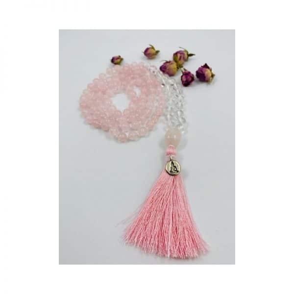 handgeknüpfte Mala aus Bergkristall und Rosenquarz