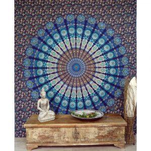 Mandala Wandbehang oder Tagesdeckeblau