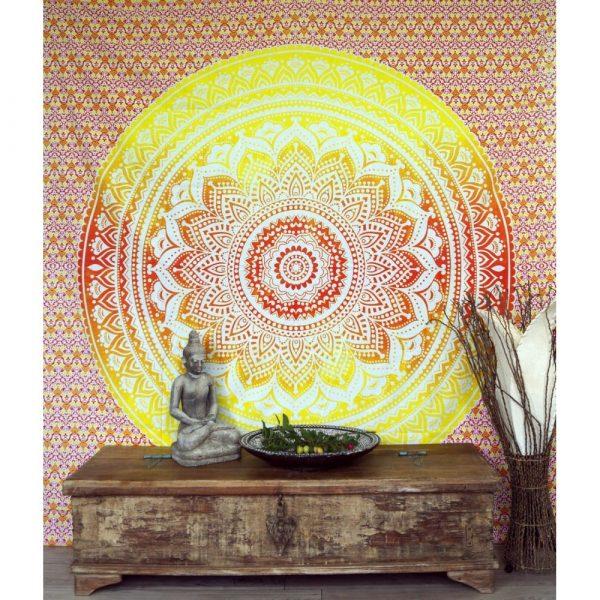 Mandala Wandbehang oder Tagesdecke aus Indien gelb-orange 230x210 cm