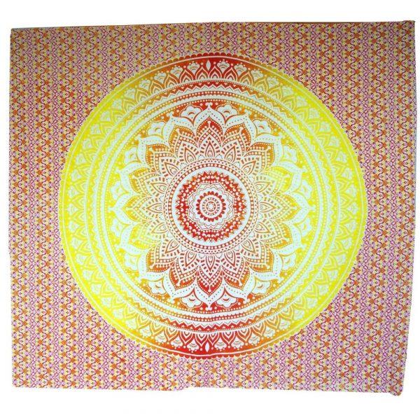 Mandala Wandbehang aus Indien gelb-orange 230x210 cm