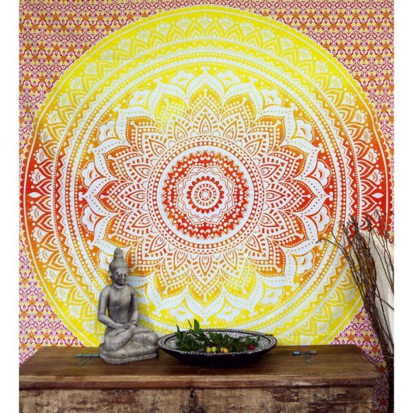 Mandala Wandbehang aus Indien gelb-orange