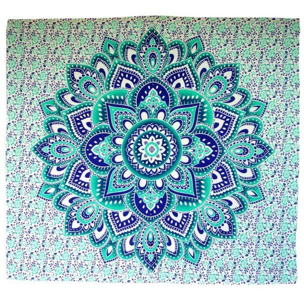 Mandala Wandbehang aus Indien in smaragdgrün und türkis