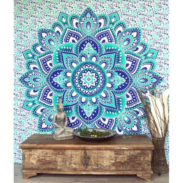 Mandala Wandbehang smaragdgrün blau