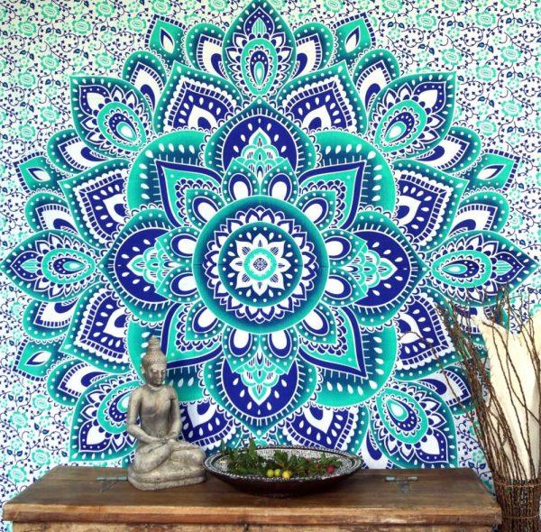 Mandala Wandbehang aus Indien in smaragdgrün
