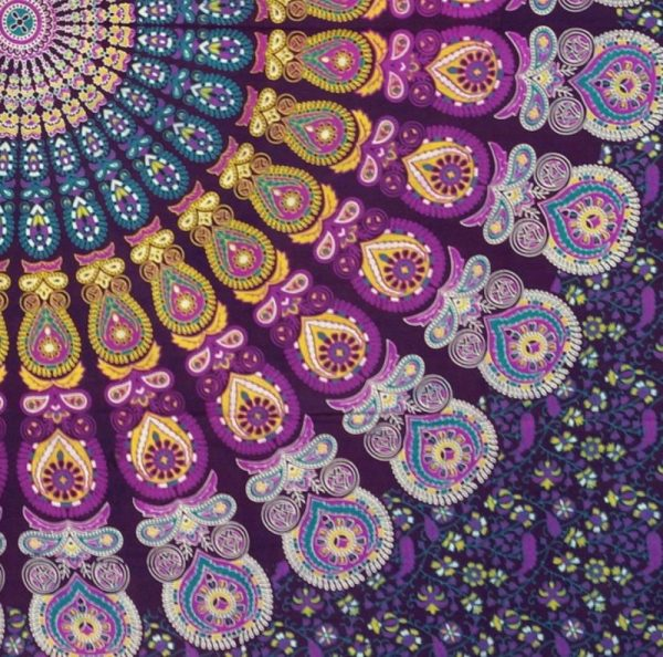 Tagesdecke Indien oder Mandala Wandbehang blau, lila, weiss