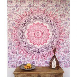 Mandala Wandbehang rosa weiss violet