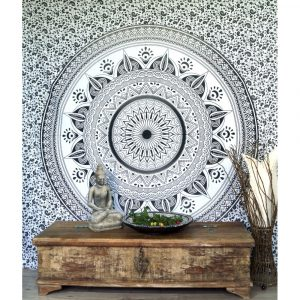 Mandala Wandbehang aus Indien schwarz-weiss 230cmx210cm