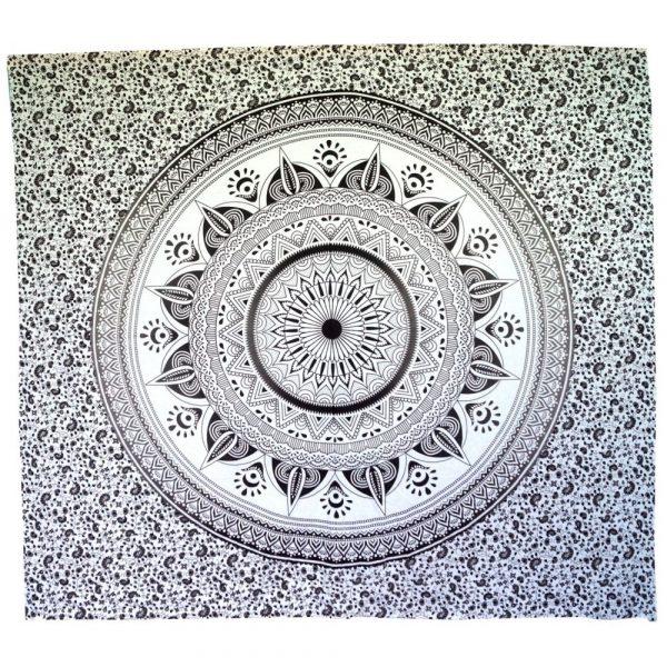 Mandala Wandbehang oder Tagesdecke aus Indien schwarz-weiss 230cmx210cm