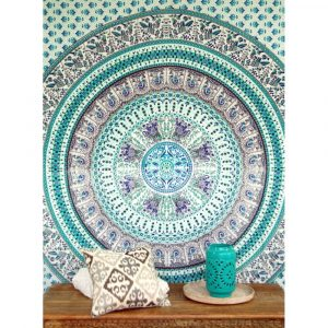 Mandala Wandbehang aus Indien tuerkis