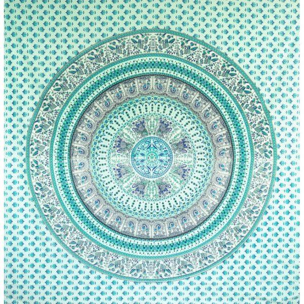 Mandala Wandbehang oder Tagesdecke aus Indien tuerkis