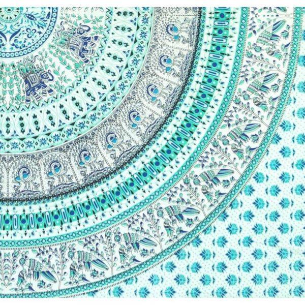 Mandala Wandbehang oder Tagesdecke aus Indien tuerkis Detailansicht