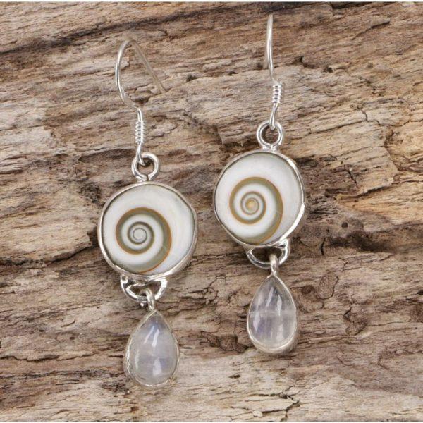 Ohrringe Shiva Eye mit Mondstein