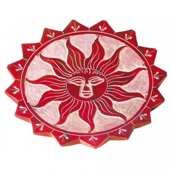 Räucherstäbchenhalter aus Speckstein mit Sonnenmotiv