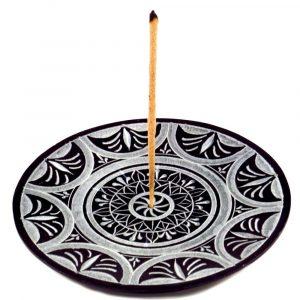 Räucherstäbchenhalter schwarz rund Sonnenmandala