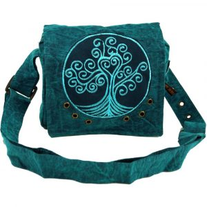 Schultertasche Tree of Life in petrol