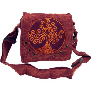 Schultertasche Tree of Life in rostrot