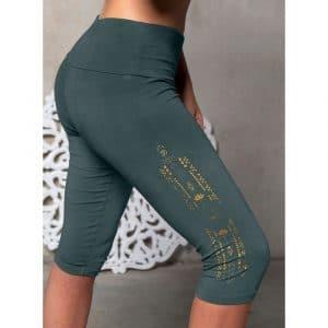 kurze Yogahose Legging Capri in smaragd