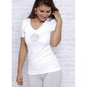 Spirit of Om T-Shirt Blume des Lebens in weiss