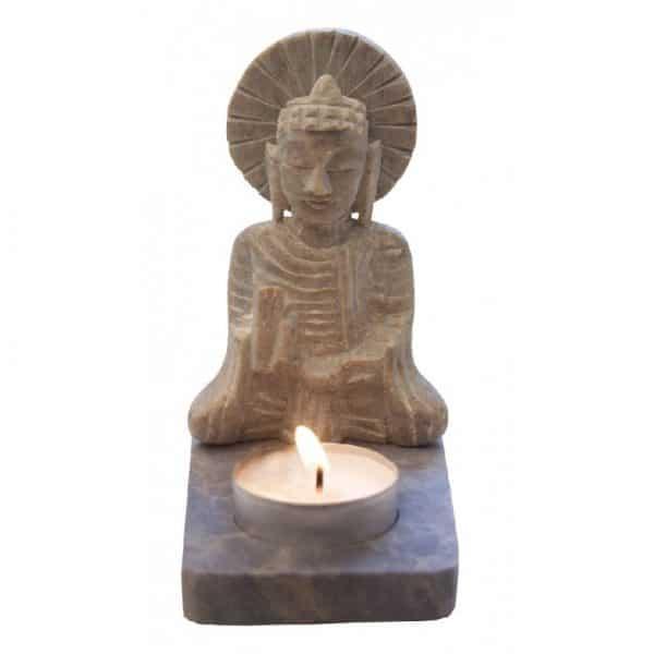Buddha mit Teelicht aus Speckstein