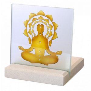 Teelicht aus Stein mit Glas Chakra Yogi