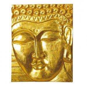 Wandrelief Buddha vergoldet