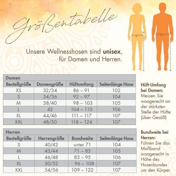 Wellnesshosen Größentabelle