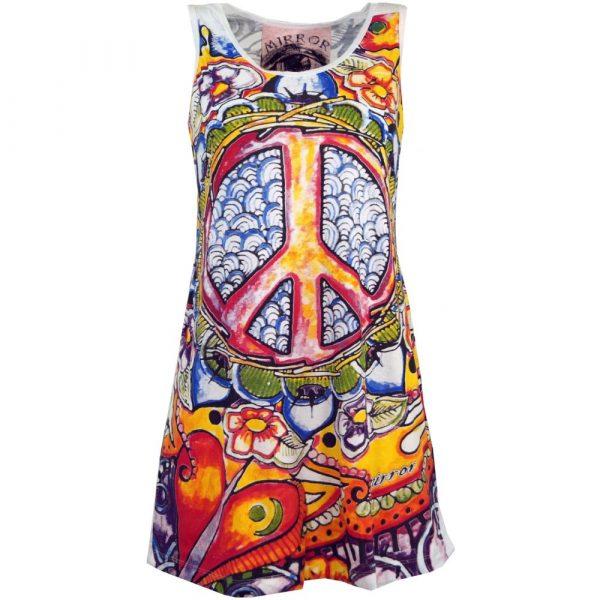 Mirror Top Peace Minikleid mit Peace Zeichen bunt